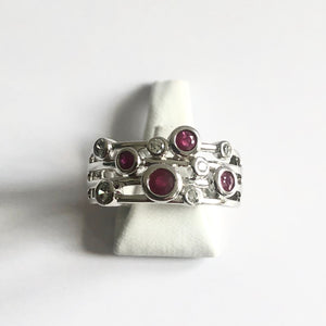 Silver Hallmarked Ruby & Diamond Ring - Product Code - A668