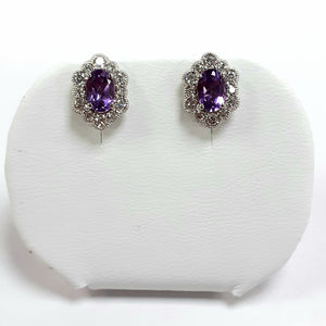 Silver Hallmarked Stone Set Earrings - Product Code - A629