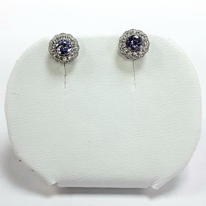 Silver Hallmarked Stone Set Earrings - Product Code - A665