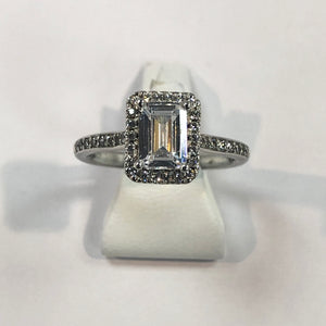 Silver hallmarked white cubic zirconia Ring Product Code -J235