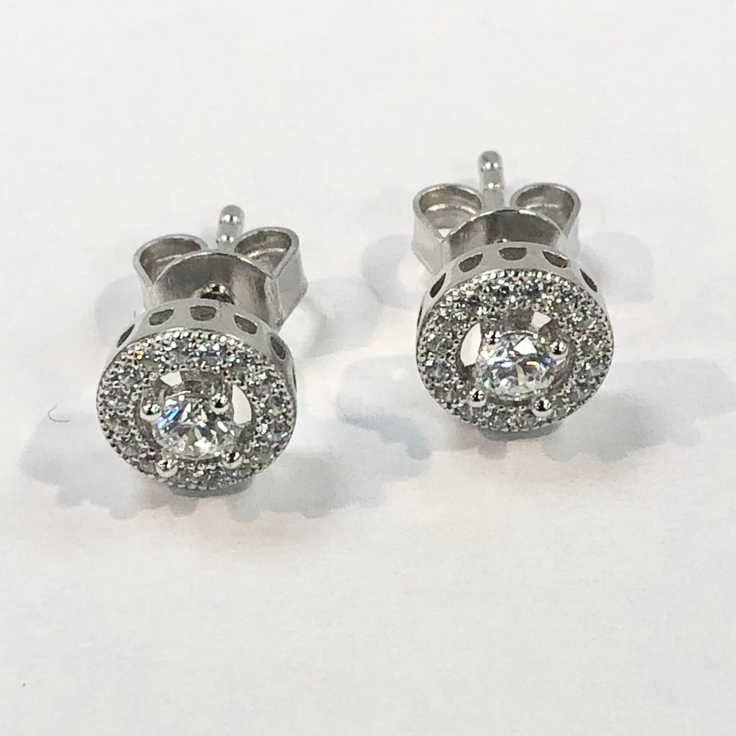 Silver Small Halo Design Earrings Product Code - L437