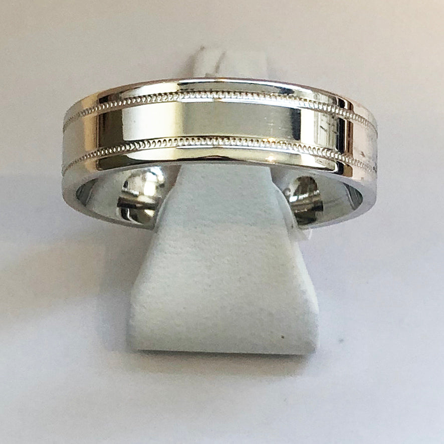 White Gold Mens Beaded Pattern Wedding Band Ring