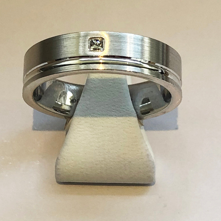 White and Gold Mens Wedding Band Ring