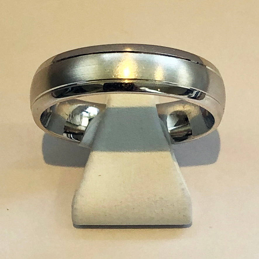 White Gold Mens Wedding Band Ring