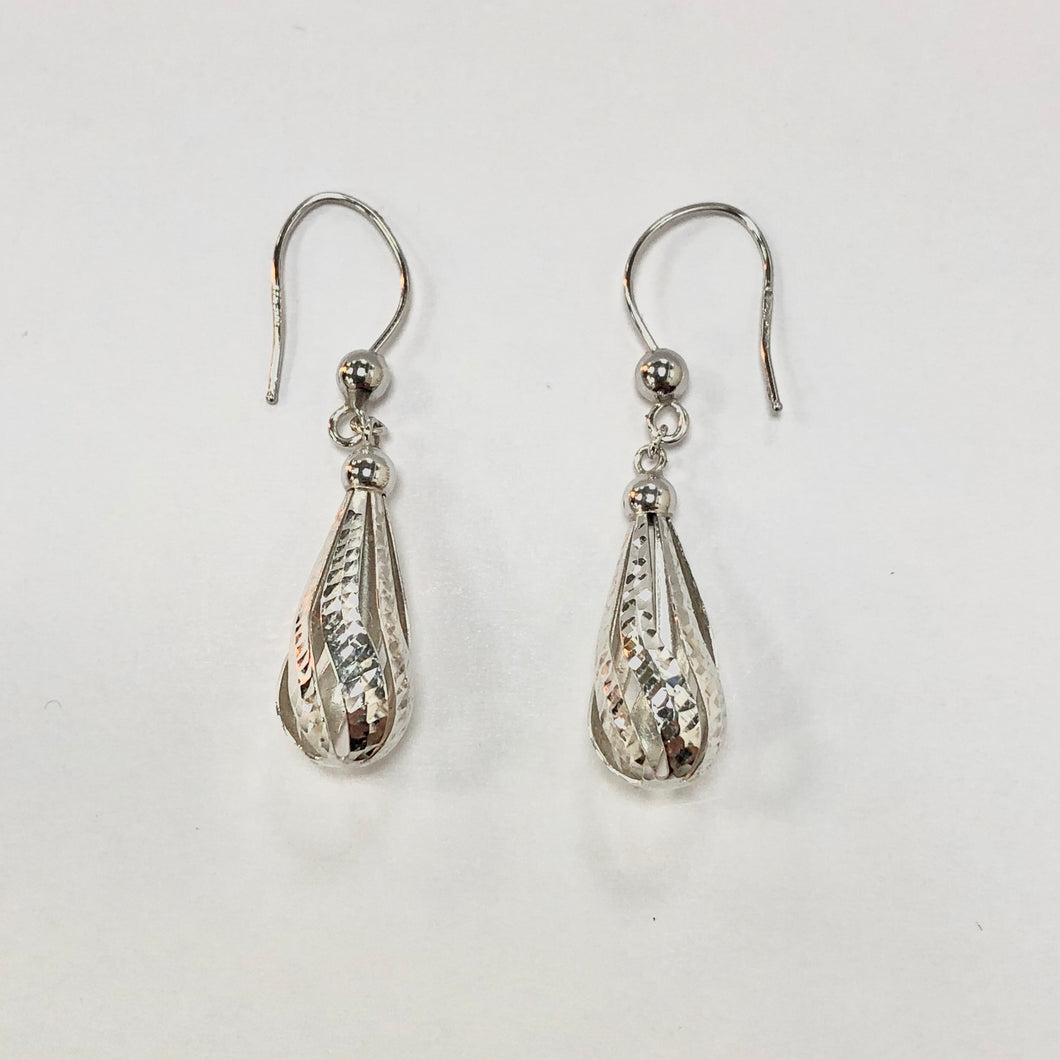 White Gold Hallmarked Drop Earrings - Product Code - VX272
