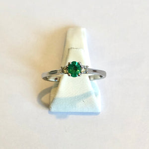 White Gold Emerald & Diamond Ring - Product Code - R53
