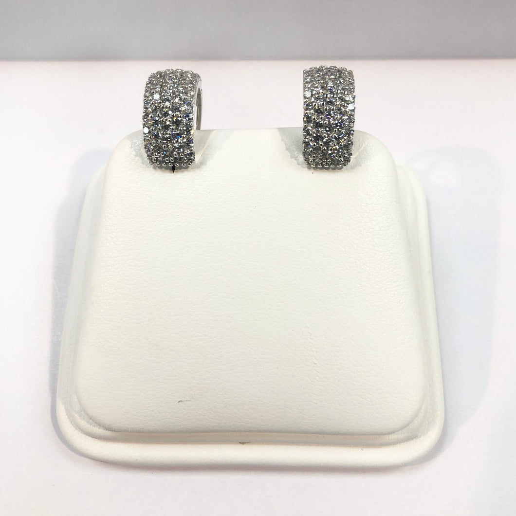 White Gold Hallmarked Stone Set Earrings Product Code - VX66