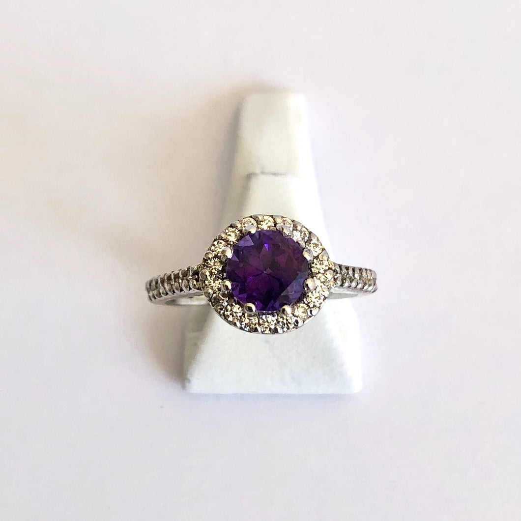 White Gold Hallmarked Amethyst & Cubic Zirconia Ring - Product Code - H22