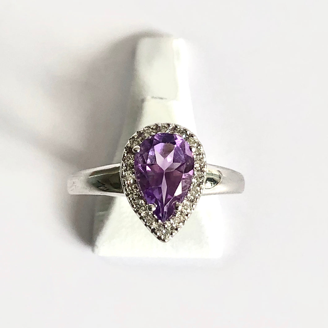 White Gold Hallmarked Pear Shaped Amethyst & Diamond Ring - Product Code - AA5