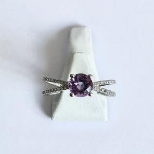 White Gold Hallmarked Amethyst & Diamond Ring - Product Code - WX295