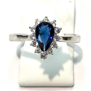 White Gold Hallmarked 375 Blue Pear Shaped Ring - Product Code - F856