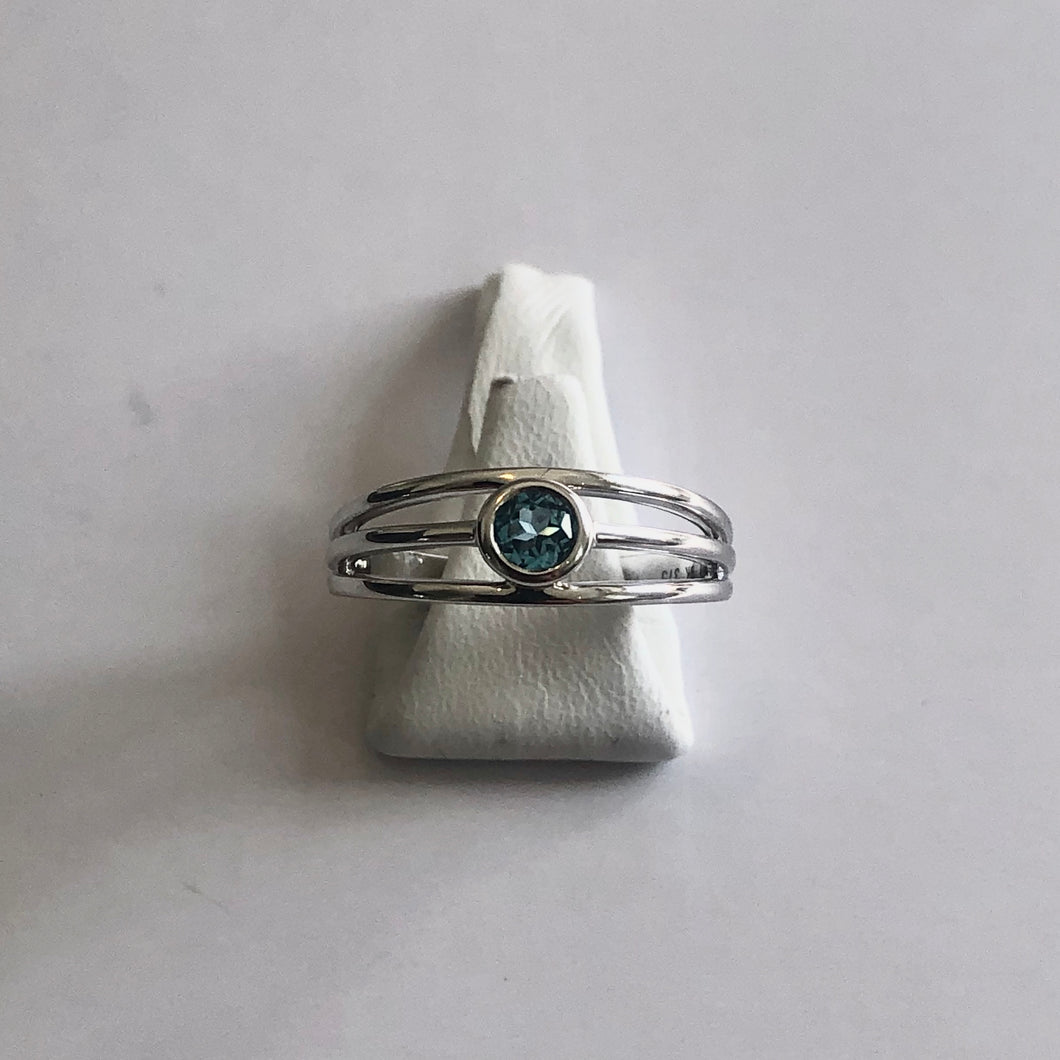 White Gold Hallmarked Blue Topaz Ring - Product Code - AA93