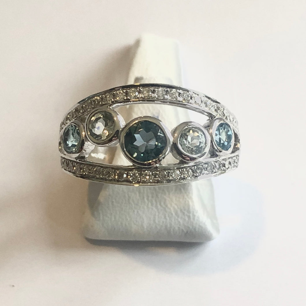 White Gold Hallmarked Blue Topaz Band Ring - Product Code - A318