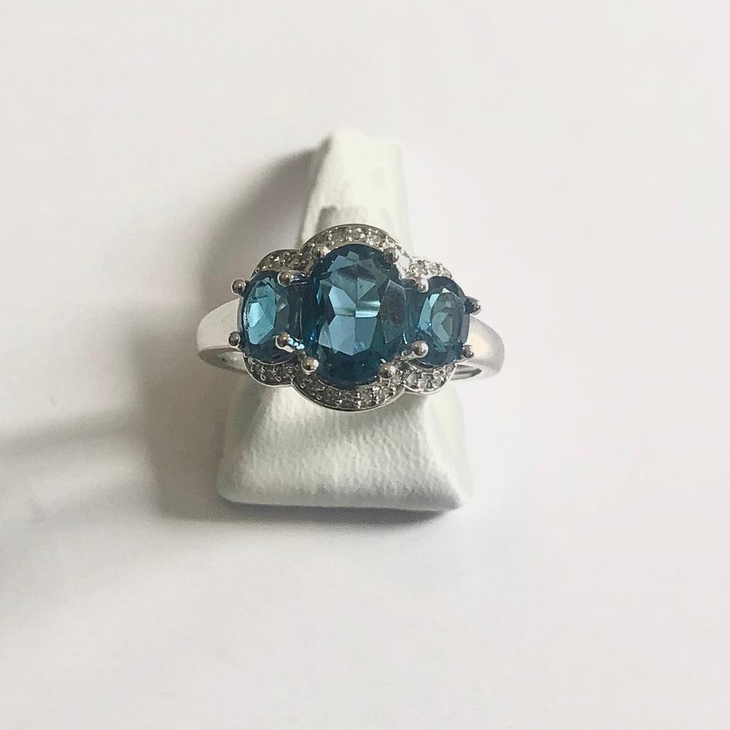 White Gold Hallmarked Blue Topaz & Diamond Ring - Product Code - J320