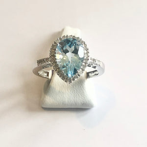 White Gold Hallmarked Blue Topaz & Diamond Ring - Product Code - VX897