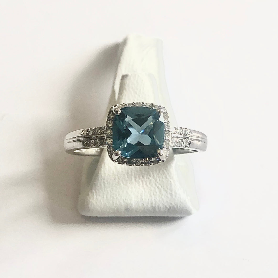 White Gold Hallmarked Blue Topaz & Diamond Ring - Product Code - J313