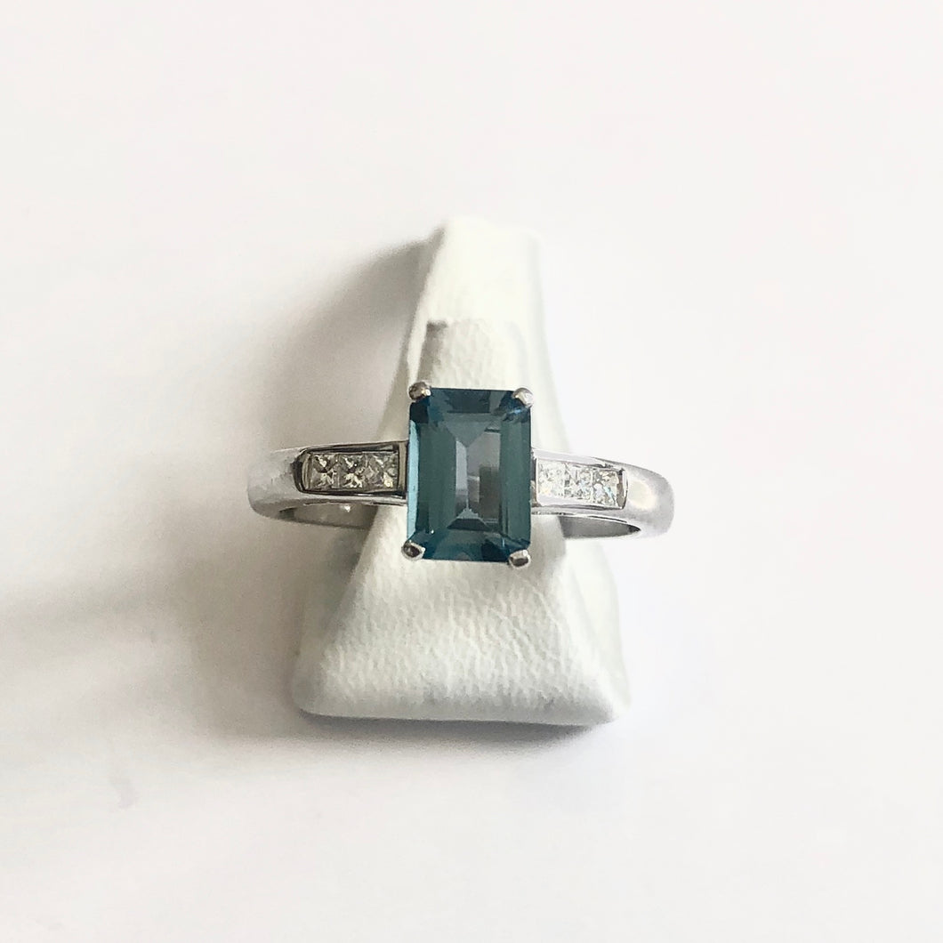 White Gold Hallmarked Blue Topaz & Diamond Ring - Product Code - J474