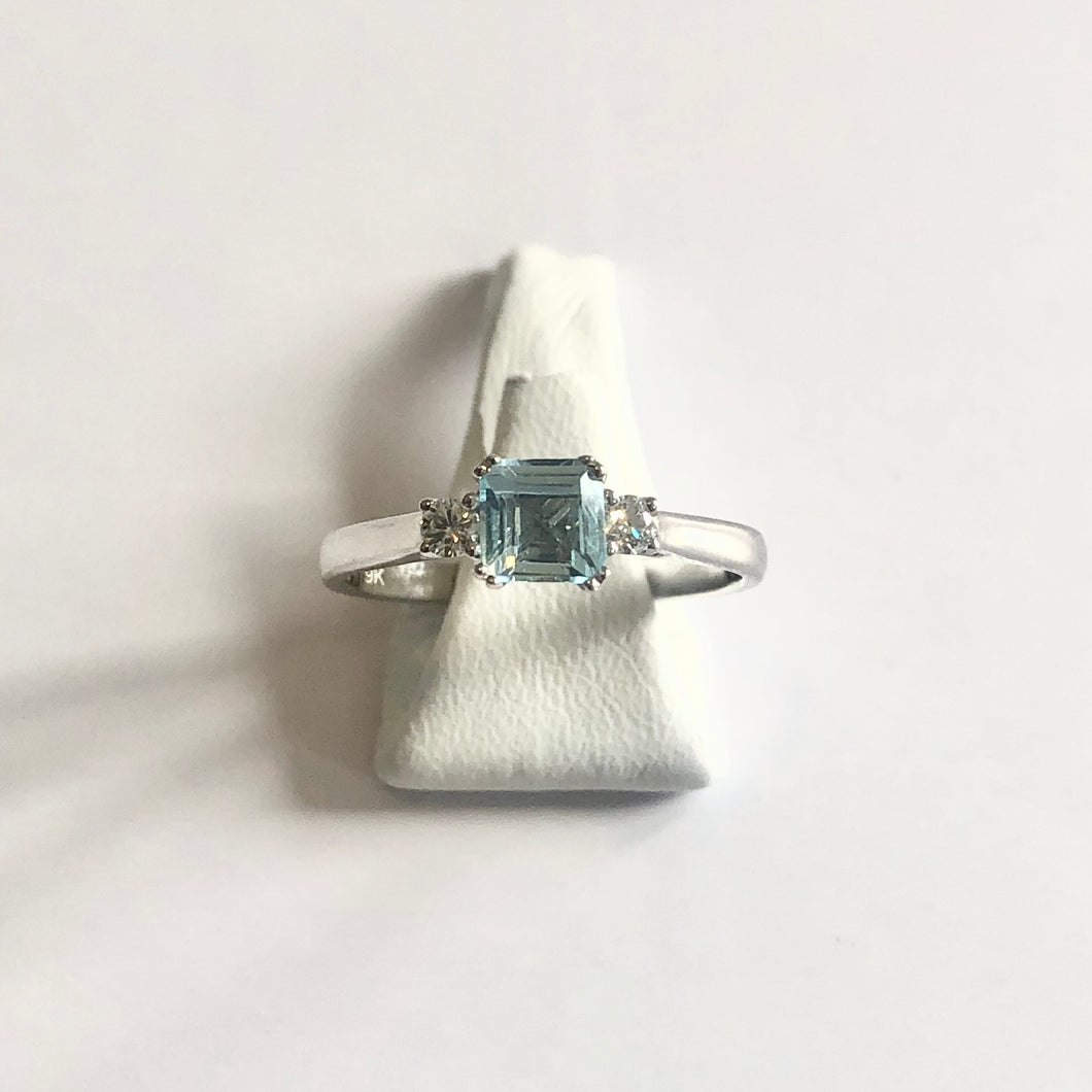 White Gold Hallmarked Blue Topaz & Diamond Ring - Product Code - R59