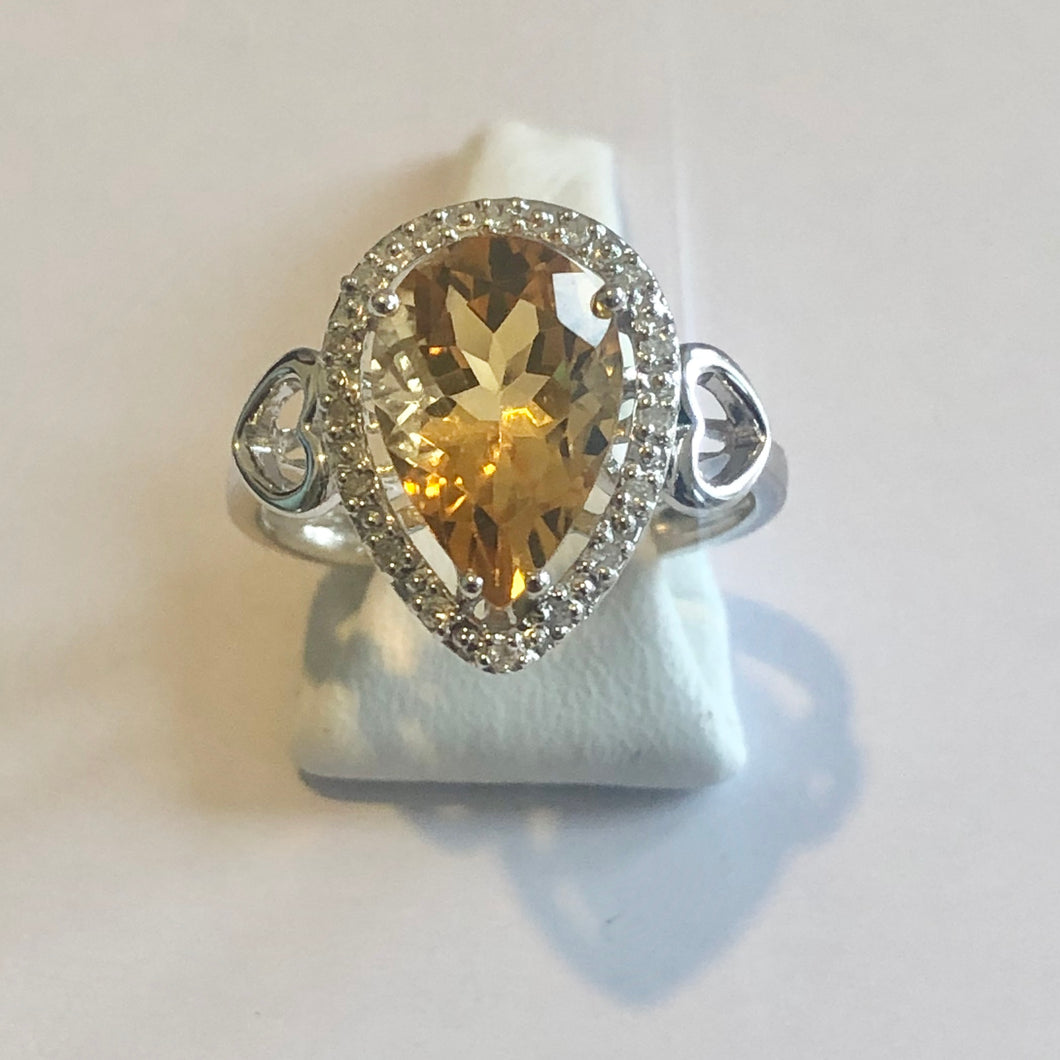 White Gold Hallmarked Citrine & Diamond Ring - Product Code - F111