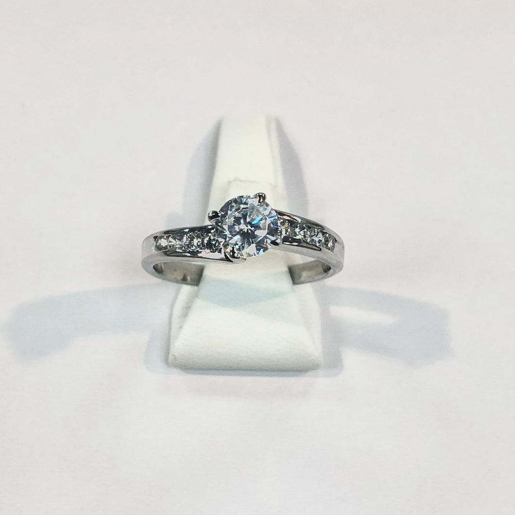 White Gold Hallmarked Cubic Zirconia Ring - Product Code - F70