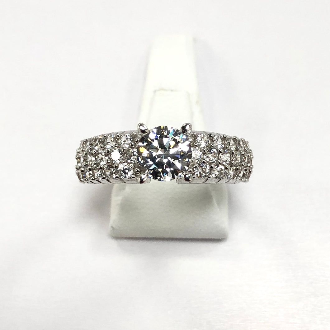 White Gold Hallmarked Stone Set Ring - Product Code - J423