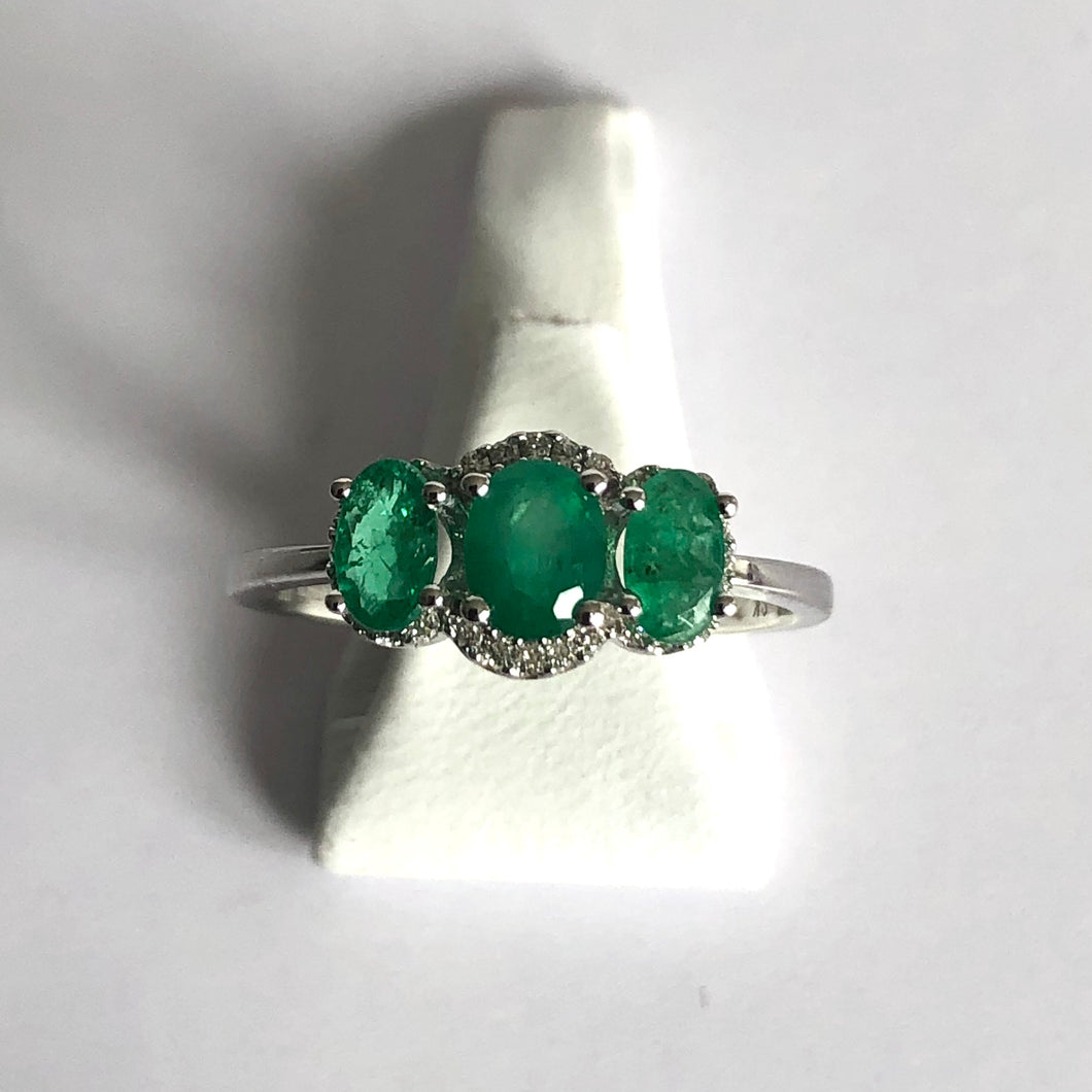 White Gold Hallmarked Emerald & Diamond Ring - Product Code - G163