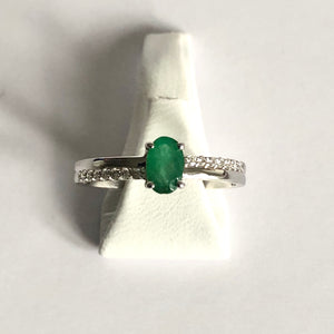 White Gold Hallmarked Emerald & Diamond Ring - Product Code - R47