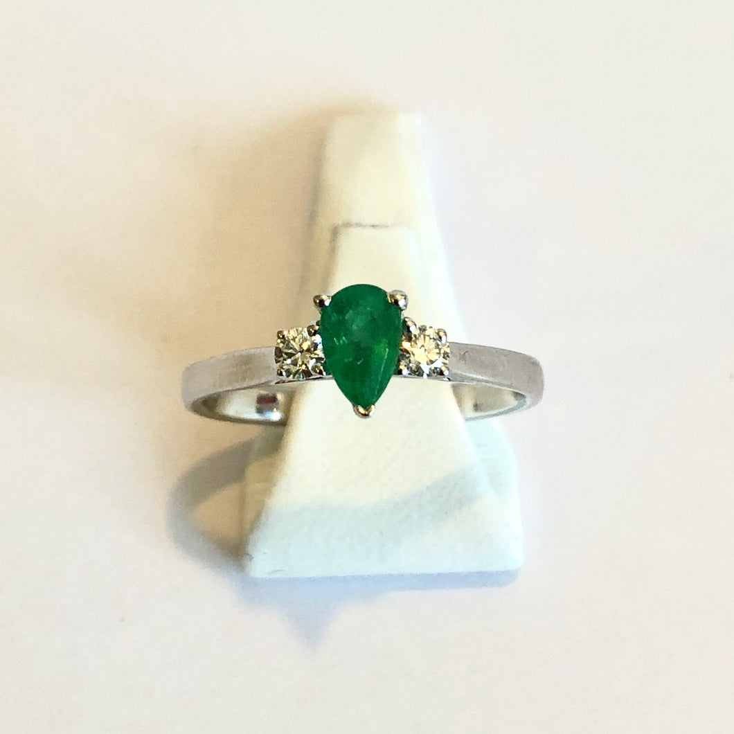 White Gold Hallmarked Emerald & Diamond Ring - Product Code - R56