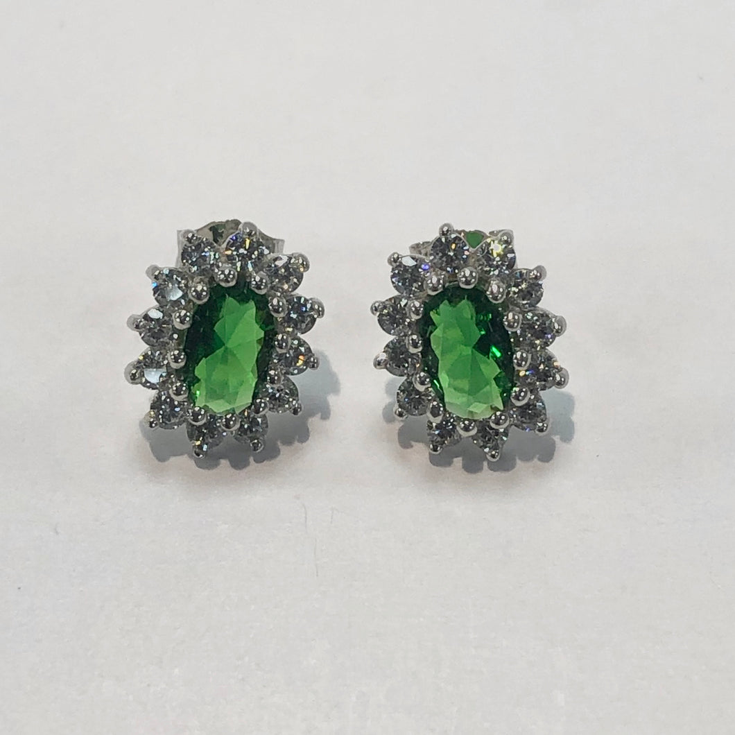 White Gold Hallmarked Green & White Stone Earrings Product Code - F215