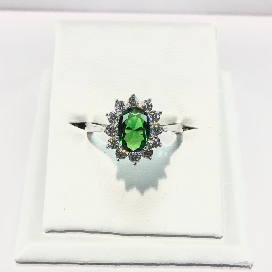 White Gold Hallmarked Green & White Stone Set Ring Product Code - F197