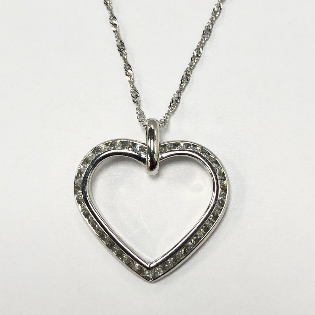 White Gold Hallmarked Heart Shaped Pendant & White Gold Chain - Product Code - VX111 & VX673