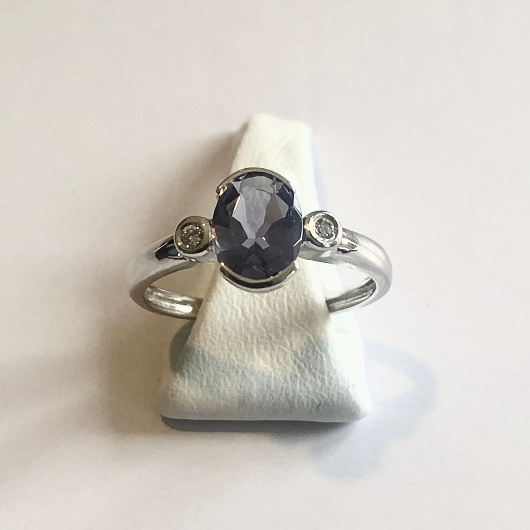 White Gold Hallmarked Iolite & Diamond Ring - Product Code - AA30