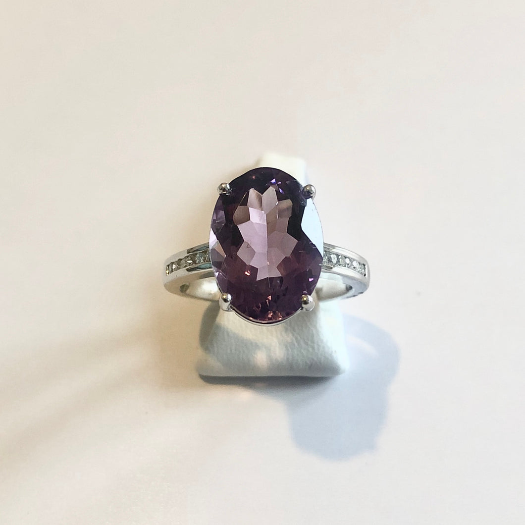 White Gold Hallmarked Oval Amethyst & Diamond Ring - Product Code - A3