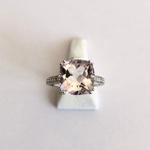 White Gold Hallmarked Pink Amethyst & Diamond Ring - Product Code - AA32
