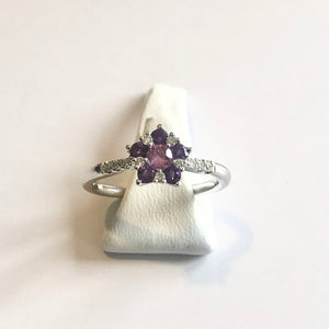 White Gold Hallmarked Pink Sapphire Amethyst & Diamond Ring - Product Code - A333