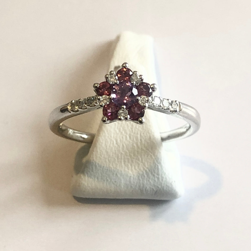 White Gold Hallmarked Pink Tourmaline Amethyst & Diamond Ring - Product Code - A331