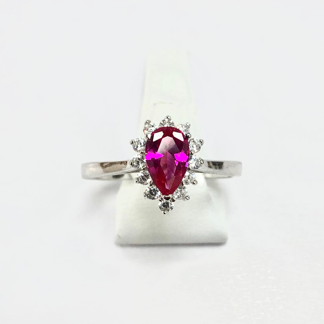 White Gold Hallmarked Red & White Stone Ring - Product Code - F199