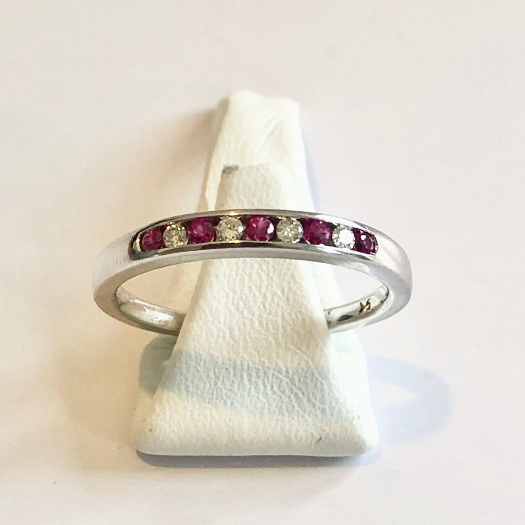 White Gold Ruby & Diamond Band Ring - Product Code - A168