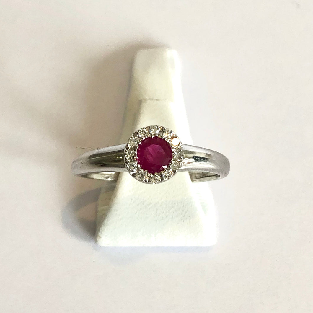 White Gold Hallmarked Ruby & Diamond Ring - Product Code - A175