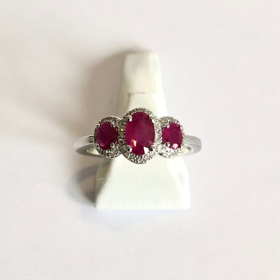 White Gold Hallmarked Ruby & Diamond Ring - Product Code - J309