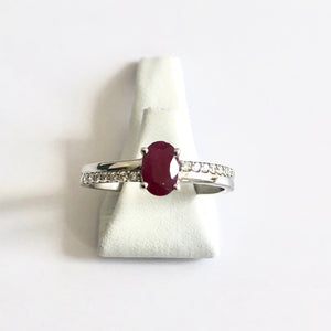 White Gold Hallmarked Ruby & Diamond Ring - Product Code - R45