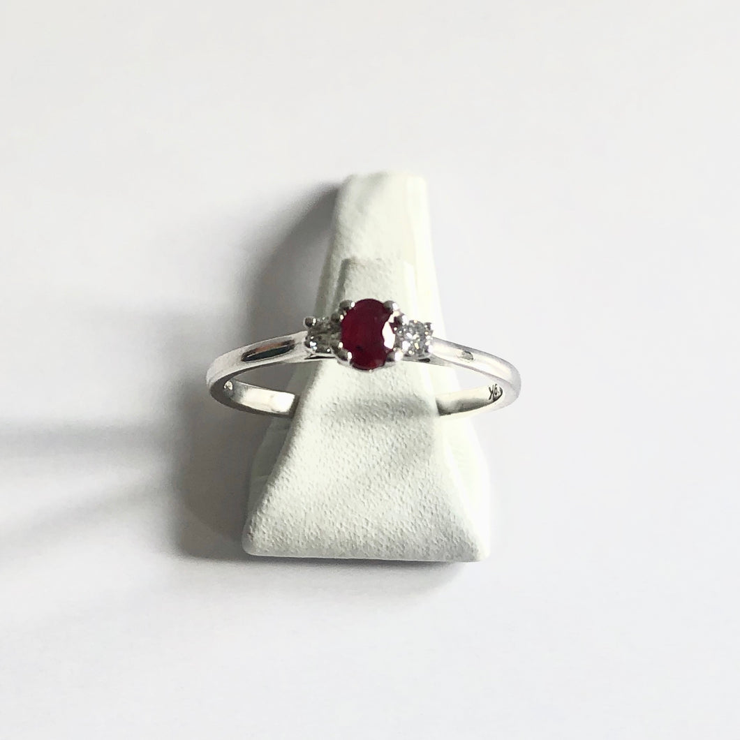 White Gold Hallmarked Ruby & Diamond Ring - Product Code - R54