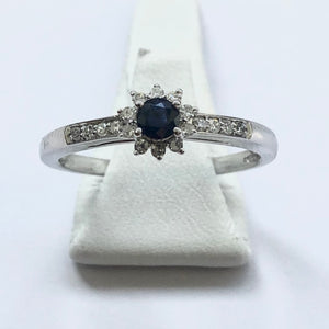 White Gold Hallmarked Sapphire & Diamond Designer Ring - Product Code - A341