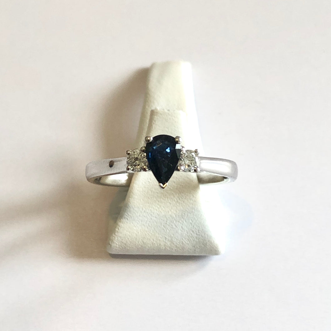 White Gold Hallmarked Sapphire & Diamond Ring - Product Code - R58