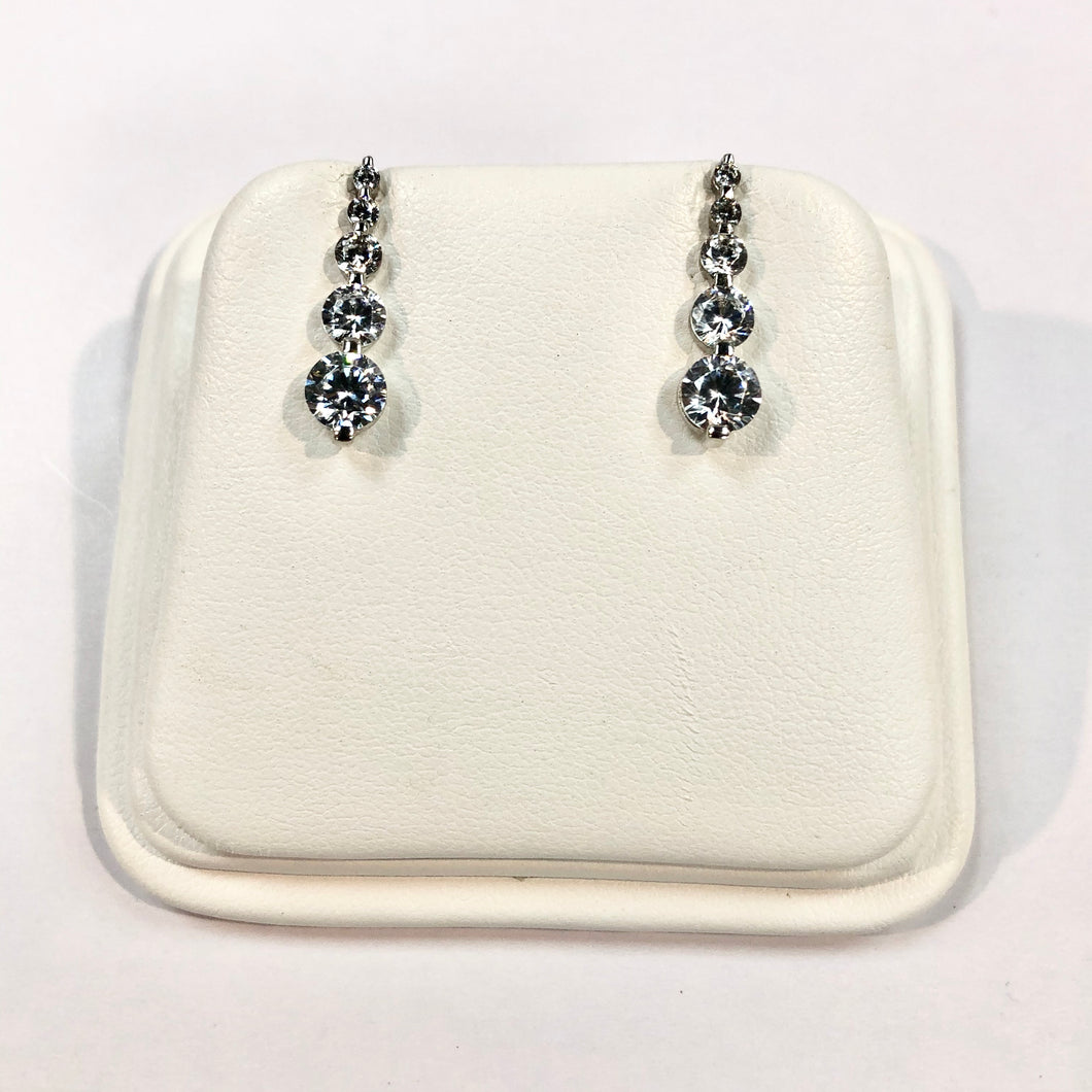 White Gold Hallmarked Stone Set Drop Earrings Product Code - VX878