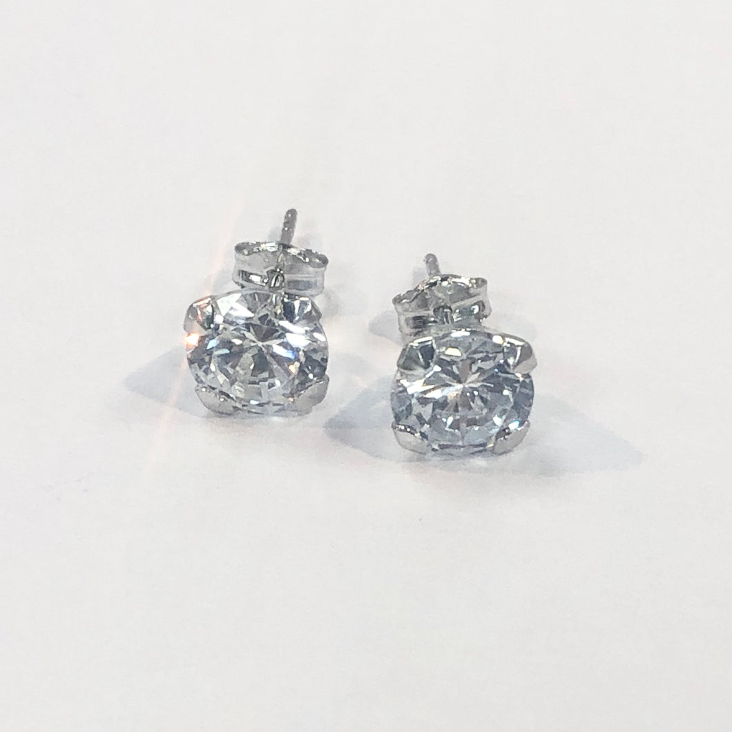 White Gold Hallmarked Stone Set Earrings Product Code - VX883