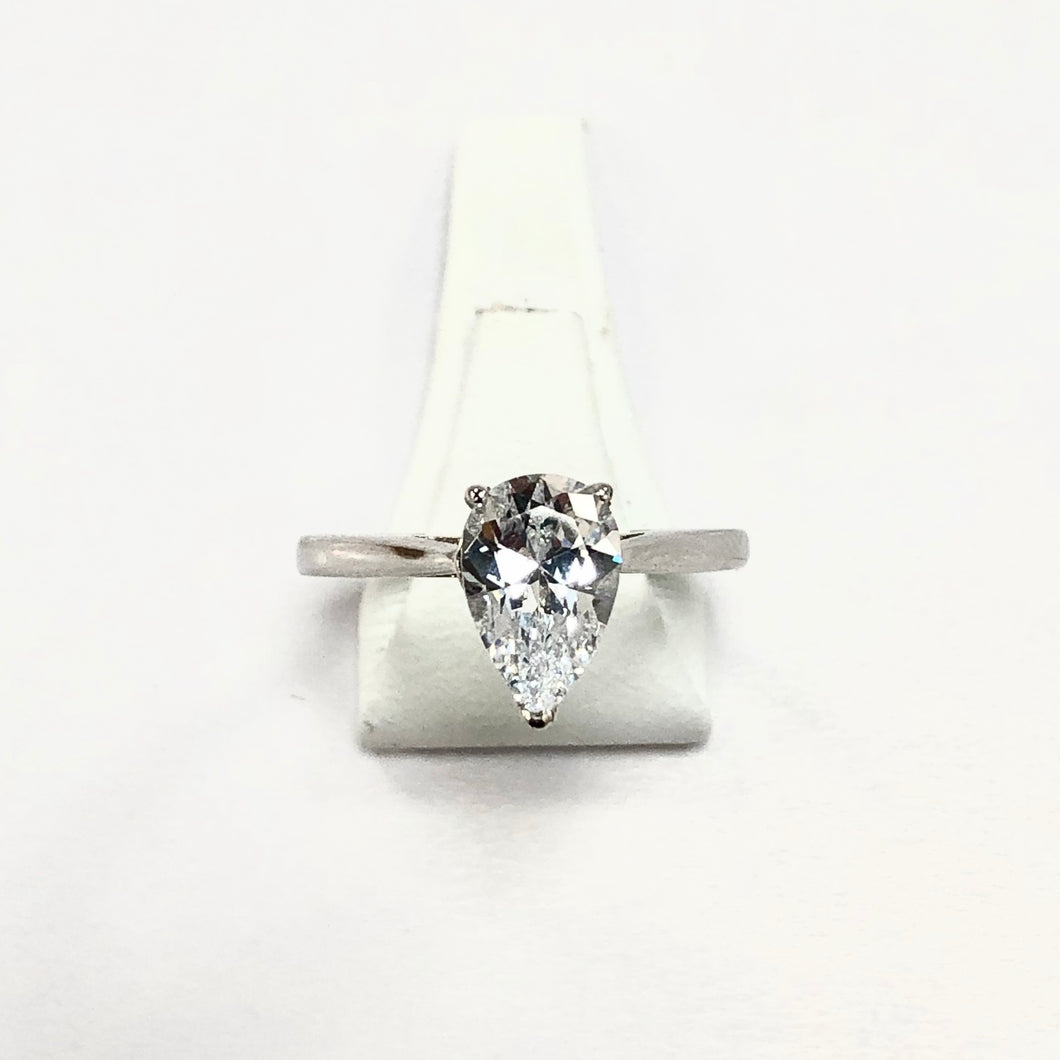White Gold Hallmarked Pear Shaped Ring - Product Code - H7