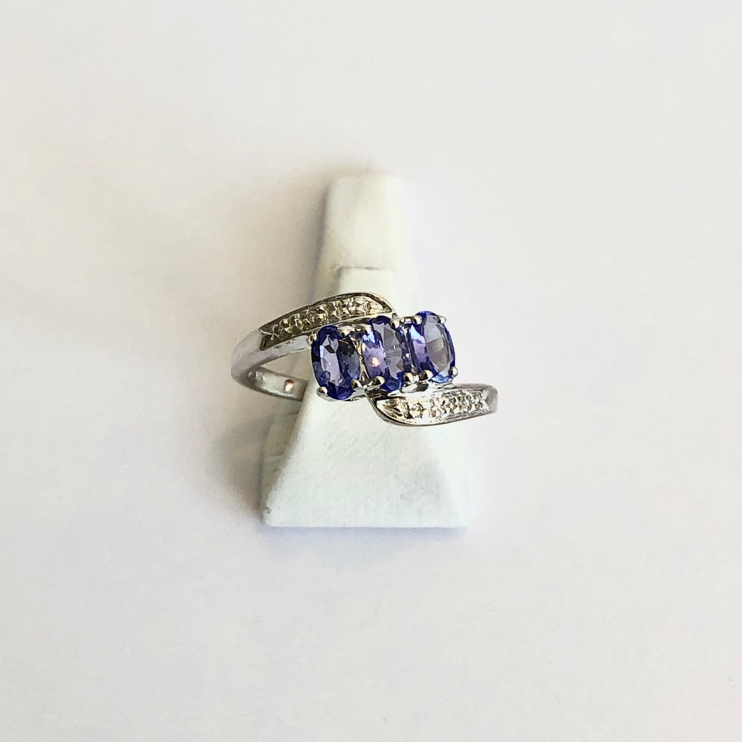 White Gold Hallmarked 375 Tanzanite & Diamond Ring - Product Code - J470