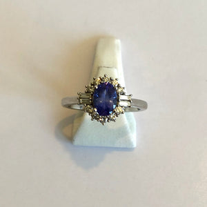 White Gold Hallmarked Tanzanite & Diamond Ring - Product Code - D8