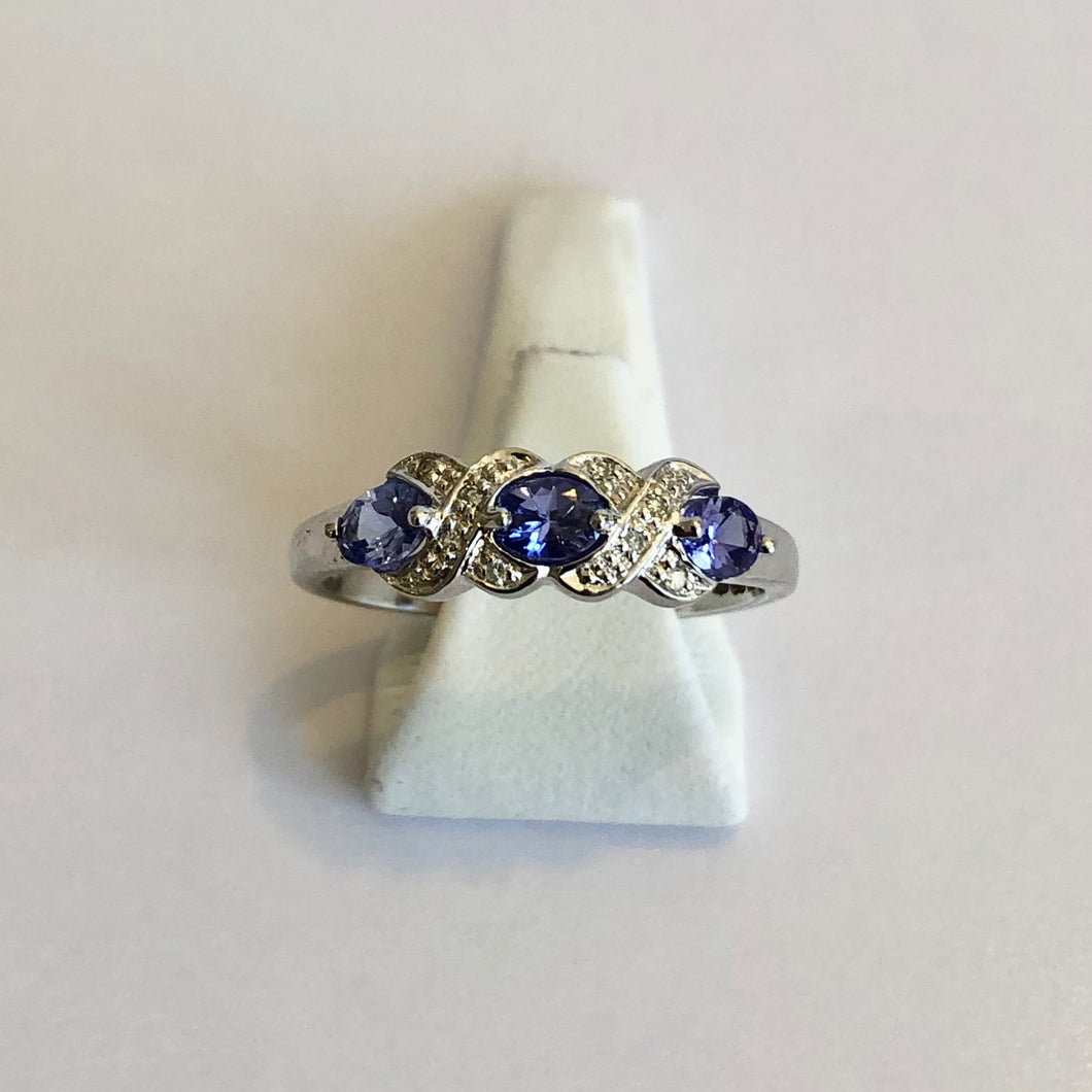 White Gold Hallmarked Tanzanite & Diamond Ring - Product Code - J464